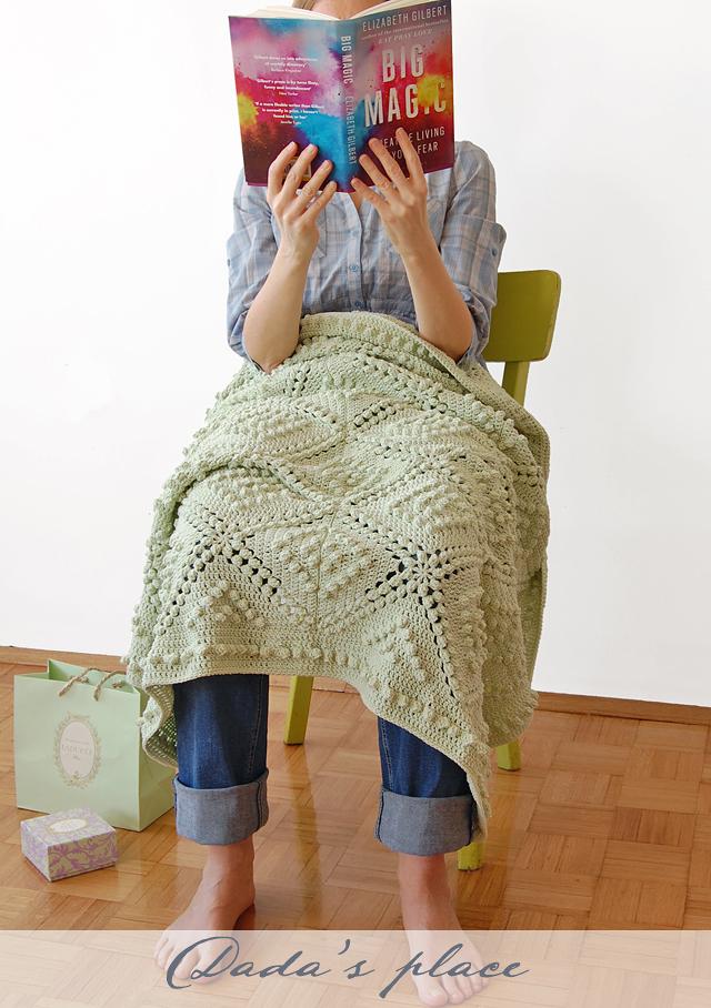 Vintage popcorn crochet blanket free pattern