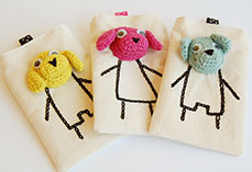 Phone Pouch With Crochet Dogs