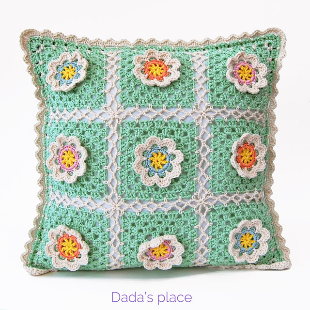 flowery crochet pillow