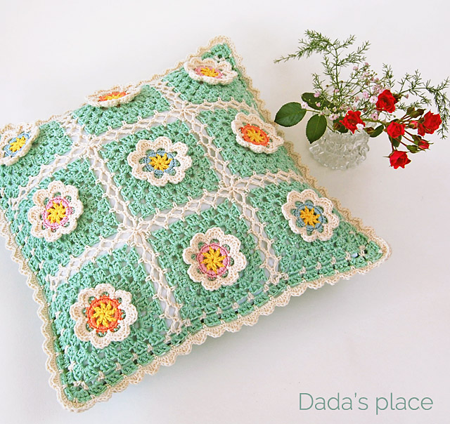 flowery crochet cushion