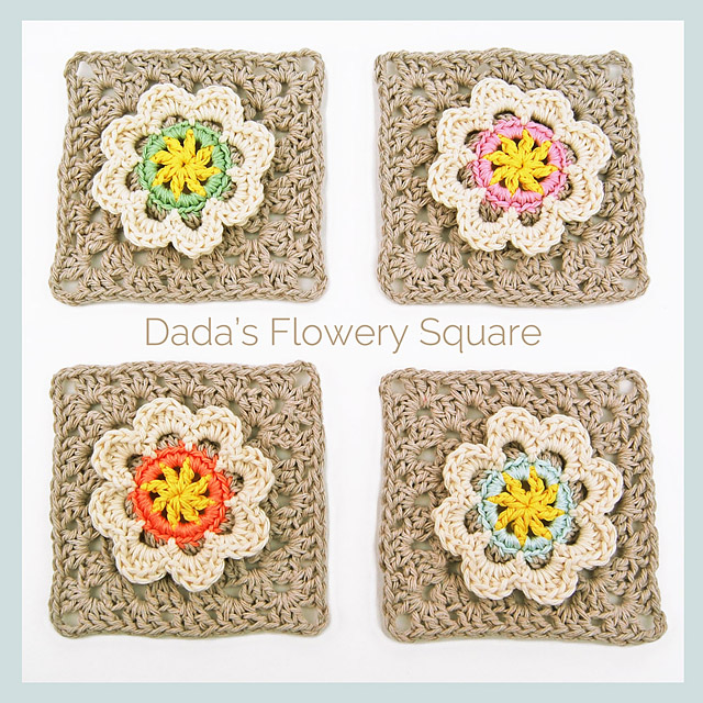 flowery granny square