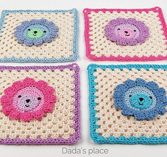 crochet lion granny square
