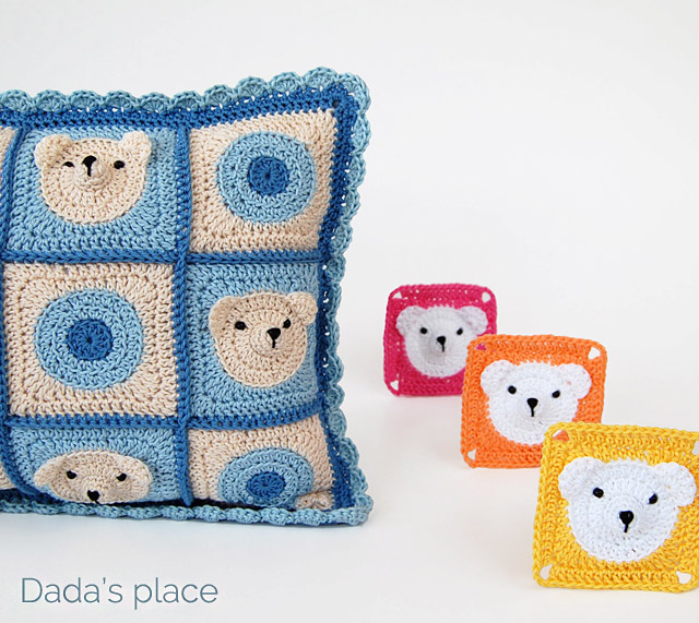 Crochet Teddy bear pillow
