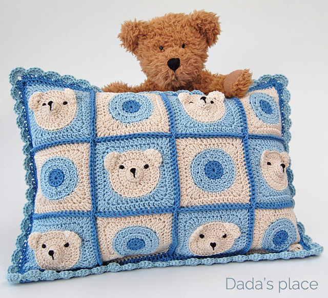 Crochet Teddy bear baby cushion