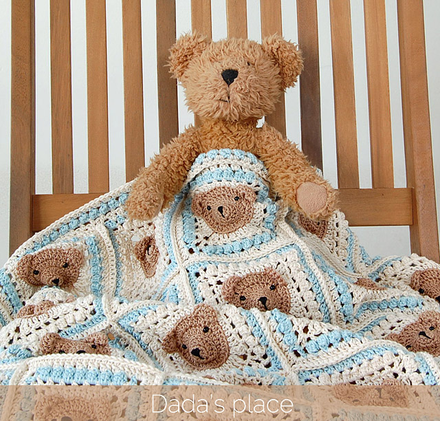 Vintage crochet teddy bear blanket