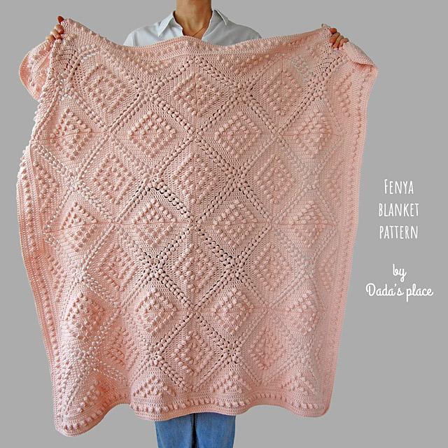 Crochet popcorn blanket Fenya
