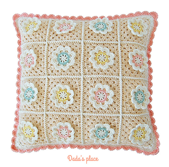 Crochet flower pillow pattern