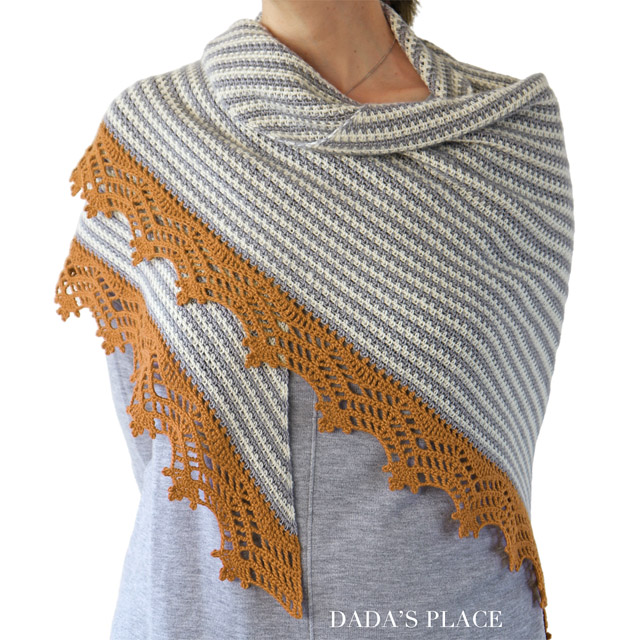 Crochet Triangle Striped Shawl with lace border 5