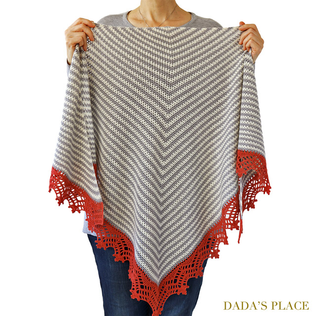 Crochet Triangle Striped Shawl with lace border 6