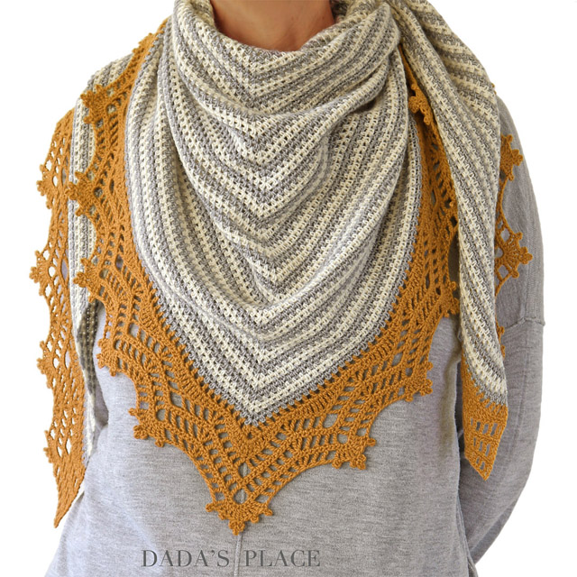 Crochet Triangle Striped Shawl with lace border 1