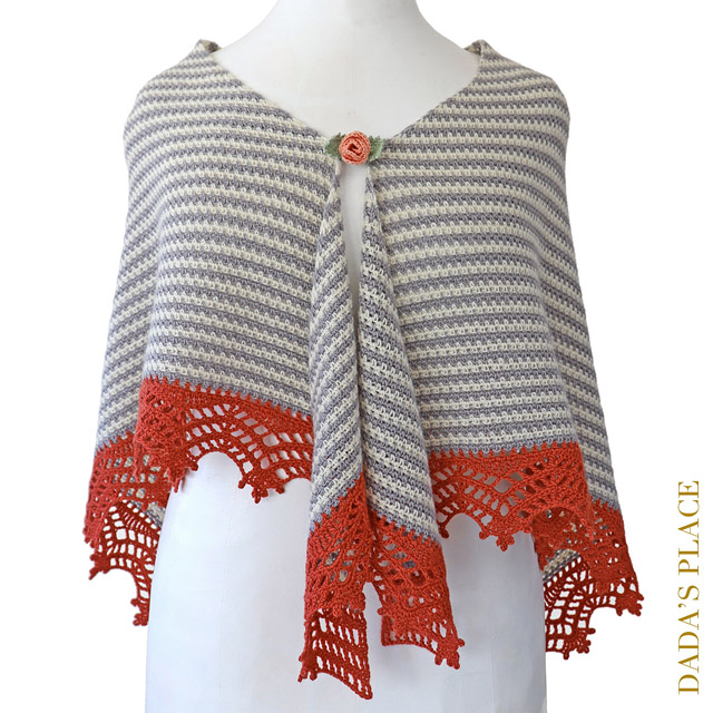 Crochet Triangle Striped Shawl with lace border 9