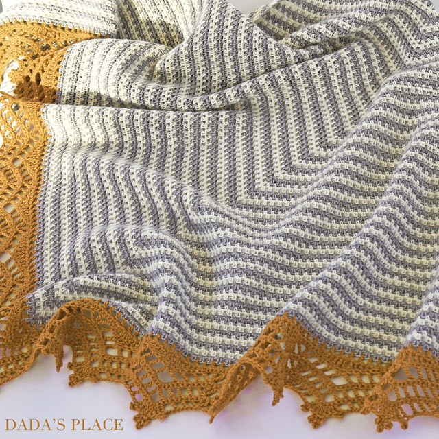 Crochet Triangle Striped Shawl with lace border 11